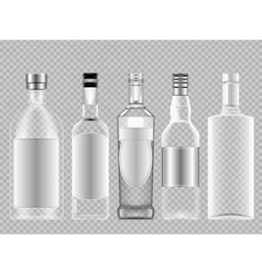 set of transparent glass vodka alcohol vector image vector image