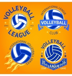 set volleyball labels logo templates etc vector image