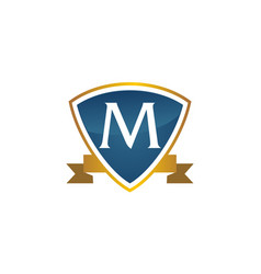 Shield ribbon letter m vector