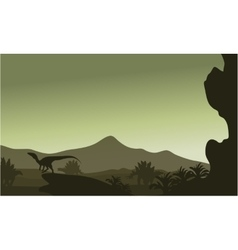 Silhouette of eoraptor in hills vector image