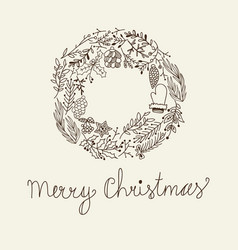 sketch christmas floral wreath vector image