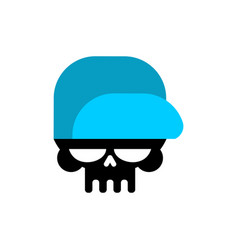 Skull in baseball cap isolated head of skeleton vector