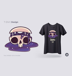 skull with flowing cosmos t-shirt design print vector image