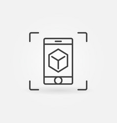 Smartphone with cube outline icon ar vector