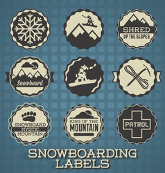 Snowboarding labels and icons vector