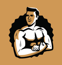 strong and muscular bodybuilder bodybuilding vector image
