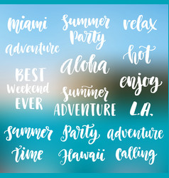 summer cute hand written brush lettering set vector image