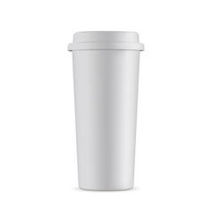 Tall disposable coffee cup mock up with lid isolat vector