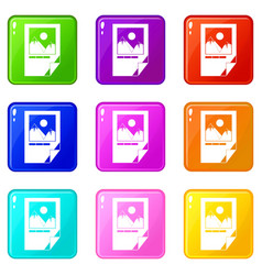 Tested ink paper with printer marks icons 9 set vector