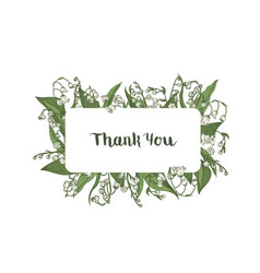 thank you word handwritten wit elegant cursive vector image
