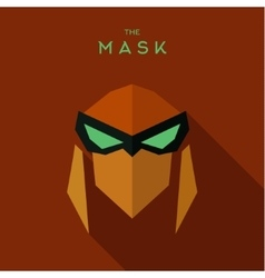 The villain with green eyes orange mask antihero vector