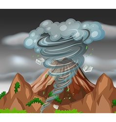 Tornado over the mountains vector