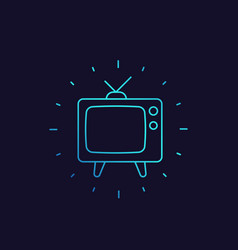 tv with antenna old television linear icon vector image