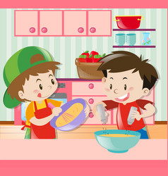 Two boys cooking in kitchen vector