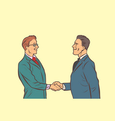 two businessmen shaking hands handshake vector image