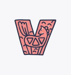 V letter logo with a horse in nordic folk art vector