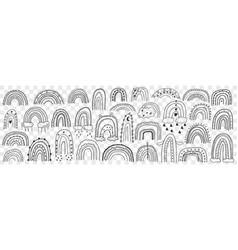 various rainbows silhouettes doodle set vector image