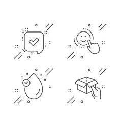 Vitamin e confirmed and smile icons set hold box vector