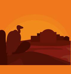 Vulture on desert vector
