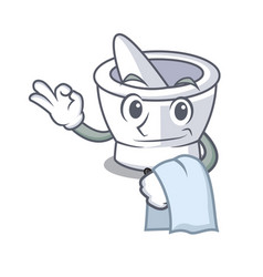 Waiter mortar mascot cartoon style vector