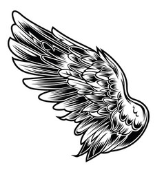 Wings bird black and white tattoo vector