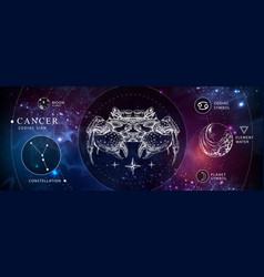 witchcraft card with astrology cancer zodiac sign vector image