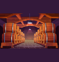wooden barrels with wine in cellar vector image