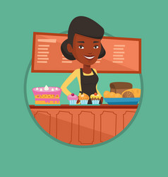 Worker standing at the counter at the bakery vector