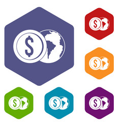 World planet and dollar coin icons set hexagon vector