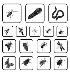 different kinds of insects black icons in set vector image
