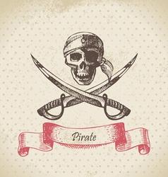 Pirate skull hand drawn vector image