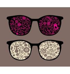 Retro sunglasses with birds and mushrooms vector