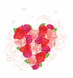 roses heart vector image vector image