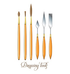 Set of drawing tools Brushes and palette knife vector image vector image