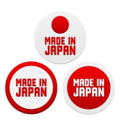 Stickers with Made in Japan vector image vector image