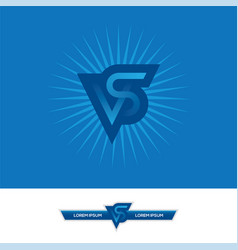 vs letters logo design in blue colors vector image