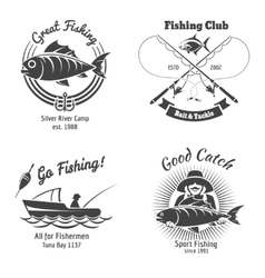 Fishing logo and emblems vintage set vector image vector image