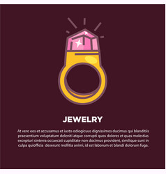 jewelry cartoon poster with gold ring and vector image vector image