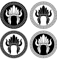 Native American Indian headdress stencils vector image vector image