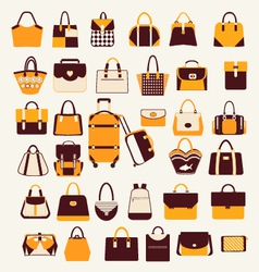 Set icons of bags and handbags - vector image