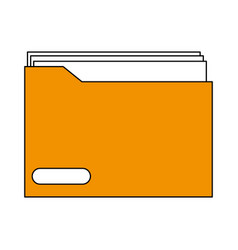 sketch color silhouette folder with documents vector image