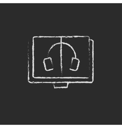 Audiobook icon drawn in chalk vector image