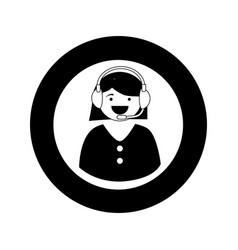 Monochrome circular emblem with female customer vector