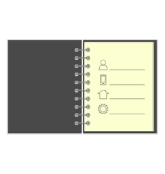 Ring-bound notebook with personal information vector image vector image