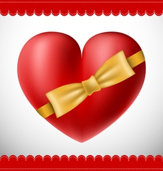 Valentine 3d heart with yellow bow vector image vector image