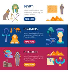 cartoon symbol of egypt banner horizontal set vector image vector image