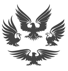 eagle emblem set vector image vector image