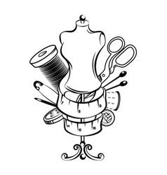 hand sewing symbol set vector image vector image