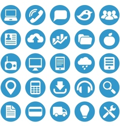 Icons for web site in blue circle vector image