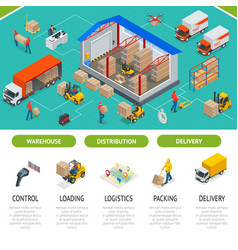 isometric warehousing and distribution services vector image
